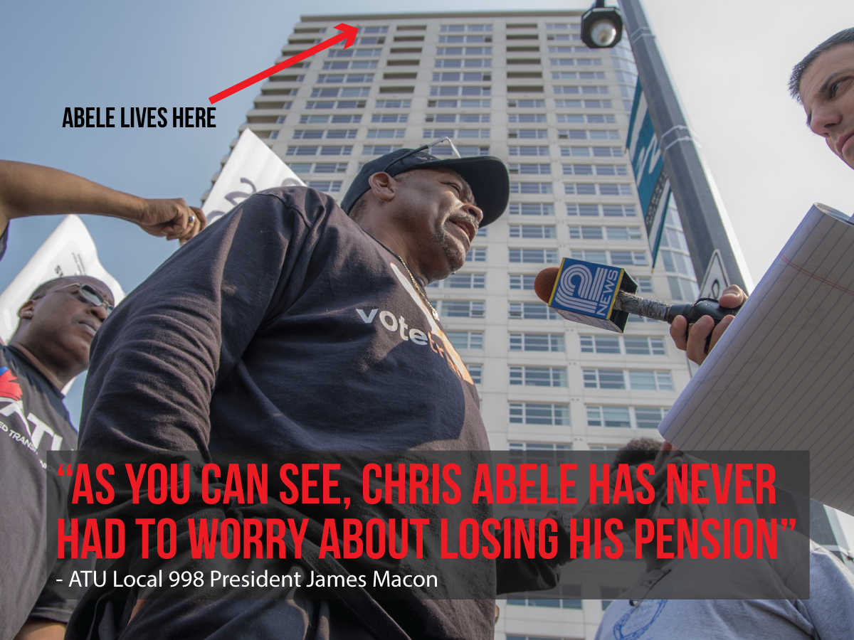 ATU 998 President speaks to the media outside of Chris Abele's downtown condo during the transit employees work stoppage.