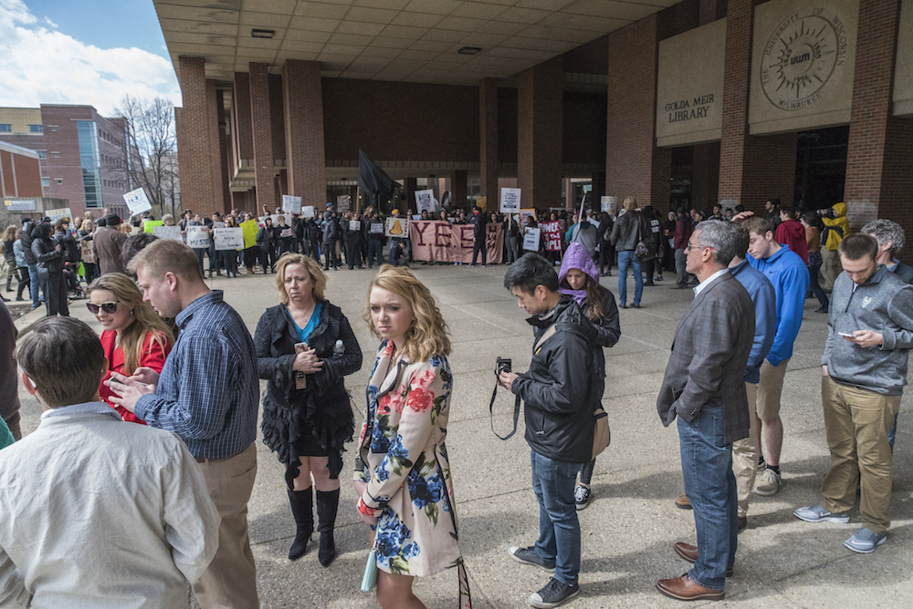 Different student groups began to gather at the same time the line to see Donald Trump started to grow (all photos taken by Joe Brusky).
